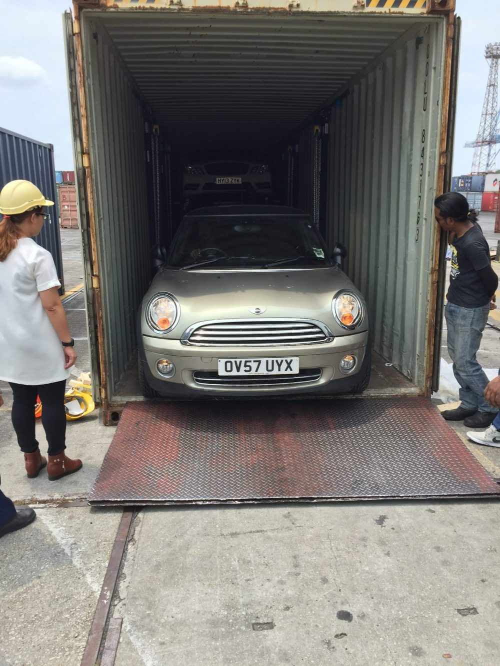 Cars in shipping container