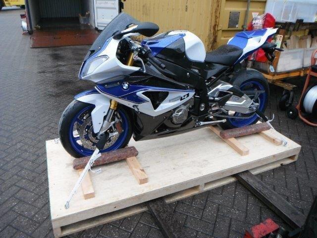 Motorbike on wooden pallet