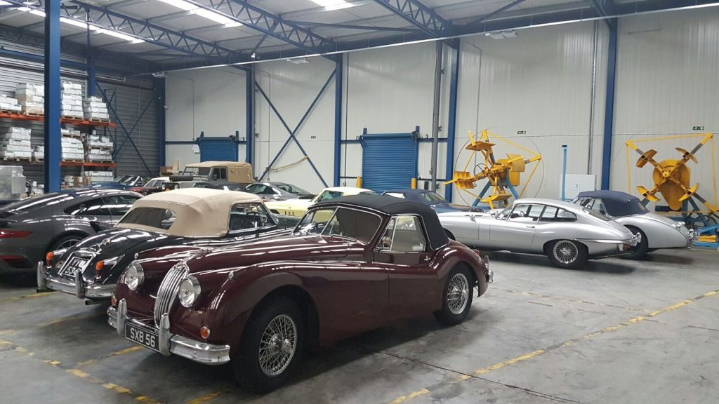 Vintage Cars in warehouse