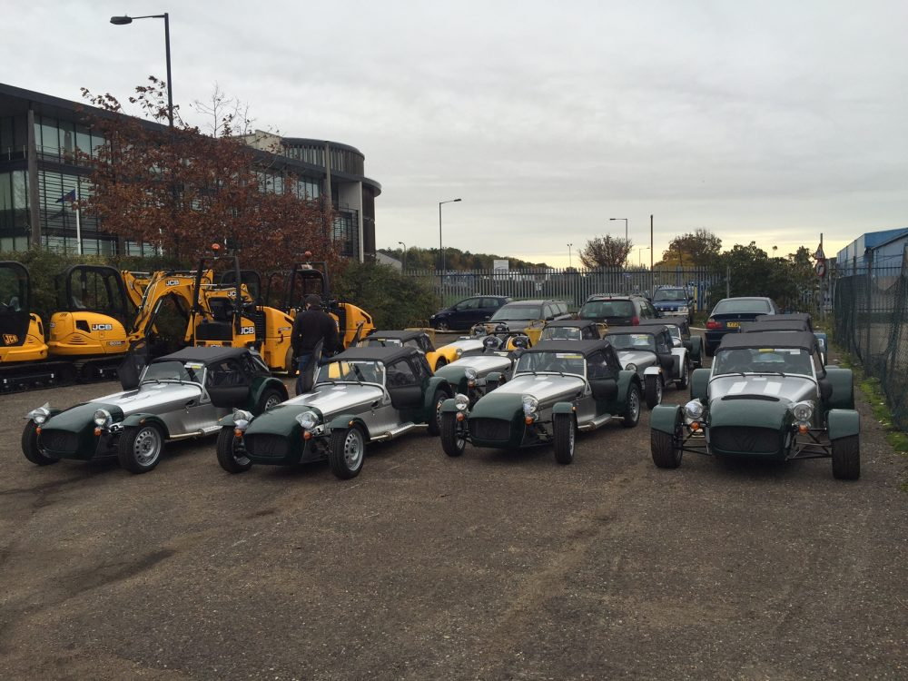 Row of vintage cars